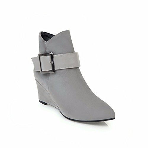 slope big buckle winter boots suede women and and Autumn short belt shoes code Grey women wvXBUn1q