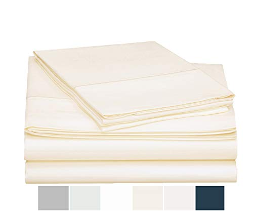 ONE PARK LINENS Organic Cotton Sheet Set GOTS Certified – Sateen Weave Eco Friendly 300 Thread Count Luxurious and Soft - Queen, Ivory