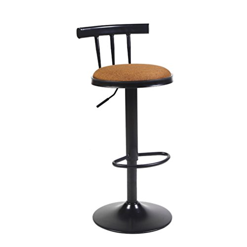 Retro Bar Stools, Home Linen Backrest Stool Coffee Shop Colorful Front Desk Chair Rotatable High Stool Liftable Bar Chair Table Stool High Chair 62-82cm (Color : #2)
