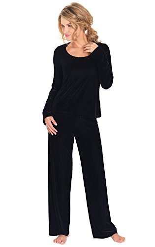 PajamaGram Women's Velour Pajamas with Long-Sleeved Top, Black, LRG (12-14) - Long Sleeved Velour Pant