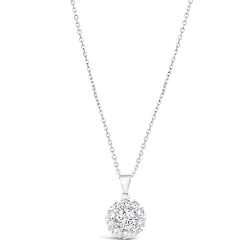 Sterling Silver Flower Pendant Necklace Cubic Zirconium for sale  Delivered anywhere in USA