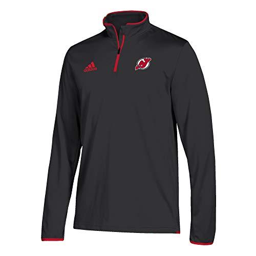 adidas Men's NJ Devils NHL Authentic 1/4 Zip Pullover Black Size Medium
