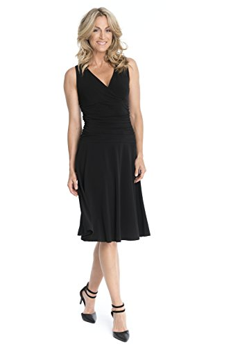 Rekucci Women's Slimming Sleeveless Fit-and-Flare Tummy Control Dresses (12,Black)
