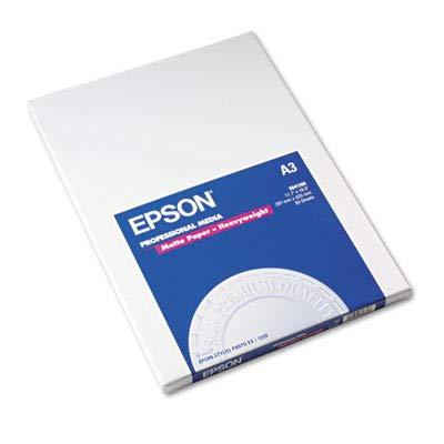 Epsonamp;reg; Heavyweight Matte White Inkjet Paper, 97 Brightness, 45lb, Size A3, 50 Sheets