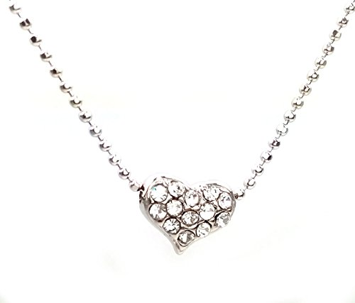 [NF-HEART-004 - Mini Heart Shaped, Mini Heart Necklace, Rhinestone Pendant Necklace 16