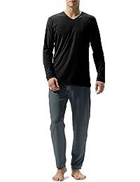 David Archy Men's Cotton Long Sleeve Sleep Top and Bottom Pajama Set