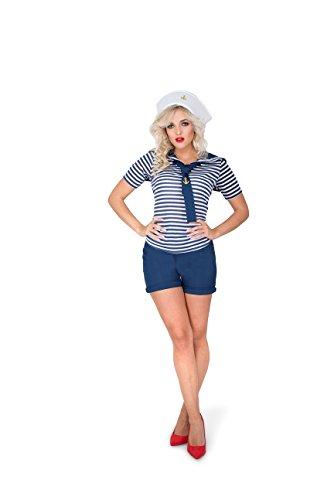Karnival Women's Flirty Sailor Costume Set - Perfect for Halloween, Costume Party Accessory. Trick or Treating (M)