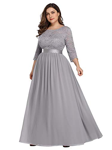 Ever-Pretty Womens Plus Size Lace Bodice Elegant Evening Bridesmaid Dresses for Women Grey US 18