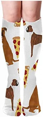 Boxers Pizza Pizza Food Boxer Dog Dogs Cute Food Pets Pet Do Thigh High Long Socks Leg Stocking Winter Warmer
