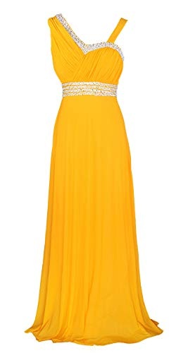 Licoco Women Sleeveless Beaded Semi-Formal Long Maxi Evening Gown Wedding Dress (Yellow 37, ()
