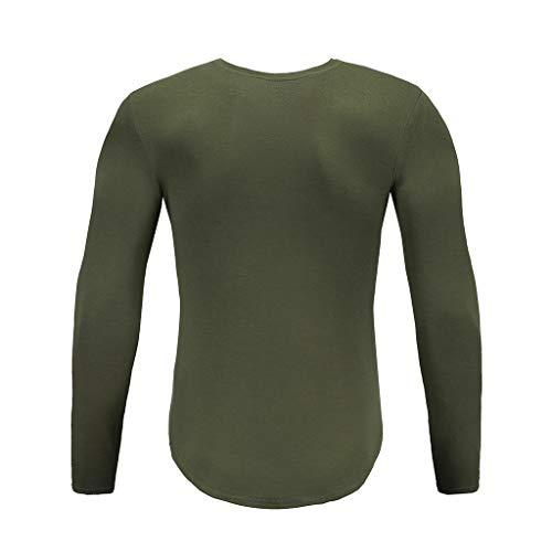 Palestra Maglietta Army Green Fitness Pullover Topgrowth Uomo Felpa Bodysuit Camicetta Tinta Casual Manica Sport Lunga Unita Maglia qHrXwHFn
