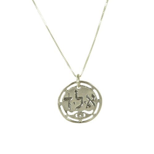 (Sterling Silver Protection Cut Out Coin Amulet on Box Chain Necklace for Men & Women - 19 Inch )
