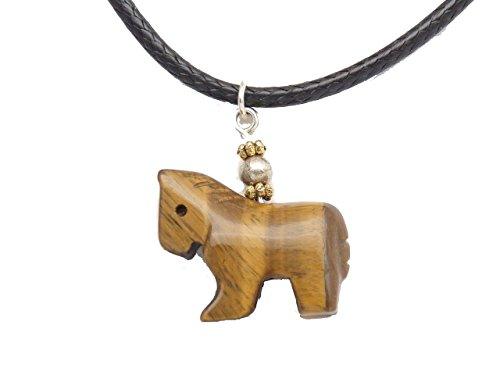 Fundamental Rockhound: Carved Gold Tiger Eye Horse Necklace Pendant on 16