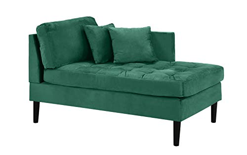 Chaise Lounge Indoor Chair Tufted Velvet Fabric (with 2 Accent Pillows), Modern Mid Century Plush Chaise Lounger for Office | Living Room or in Small Space Home Furniture, Green