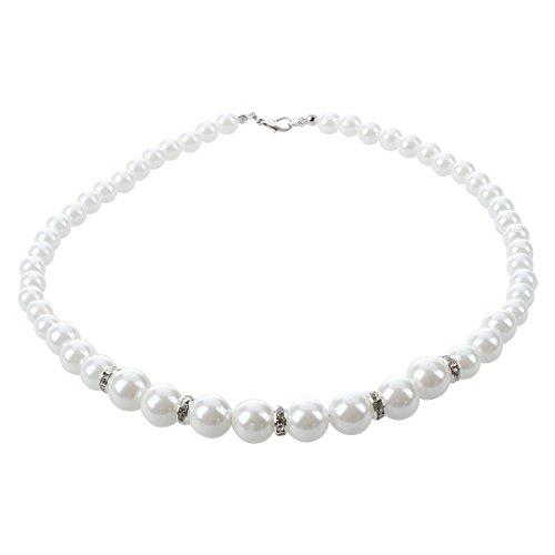 TOOGOO(R) Blanc perle Faux Perles Collier strass Goujons Boucles d'oreilles Ensemble
