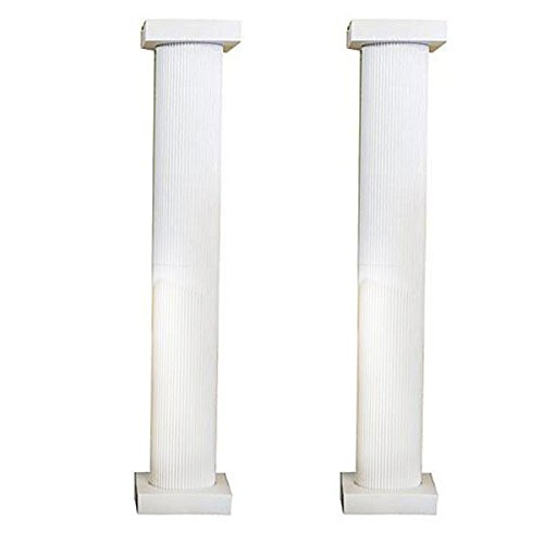 Shindigz 8 Foot White Fluted Cardboard Column, Set of 2 Photo Booth Prop Background Backdrop Party Decoration Scene Setter]()