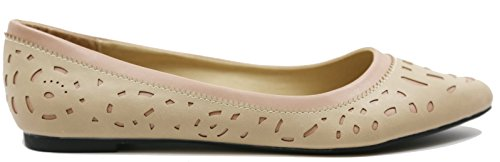 Walstar Womens Comfortable Point Toe Flat Pumps Shoes Double Layerd Nude TrYv1vaY