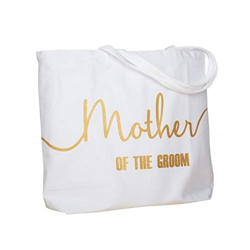ElegantPark Mother of the Groom Jumbo Tote Bag for Wedding Gifts Canvas 100% Cotton Interior Pocket White with Gold ()