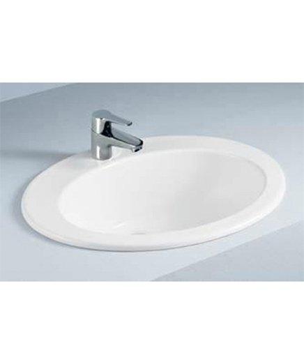 Lavabo lavandino soprapiano da incasso in ceramica bianca, misura cm.63,5 Arredobagnoecucine