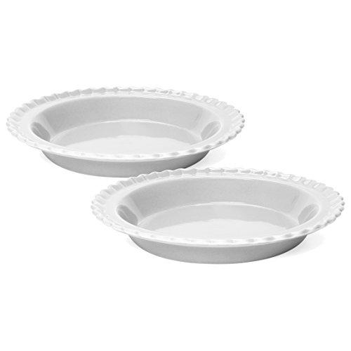 - Chantal Classic Glossy White Ceramic 9 Inch Pie Dish, Set of 2