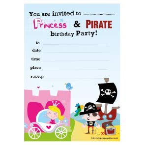 Premium 20 Childrens Birthday Party Invitations Princess And Pirate Boys Girls Invites