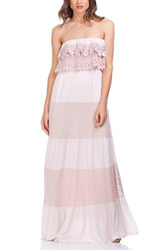 Laura Moretti - Vestido tejido con detalles de punto en la parte superior y tiras de patrones florales Rosa