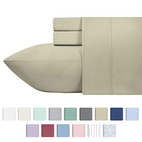 600 Thread Count Best 100% Cotton Sheets - Taupe Long-staple Cotton Queen Sheet For Bed, Fits Mattress Upto 18'' Deep Pocket, Breathable & Silky Sateen Weave 4 Piece Sheets and Pillowcases Set