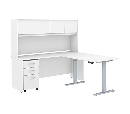Wood & Style Furniture 72W x 24D L Shaped Desk with Hutch 48W Height Adjustable Return and Storage in White Premium Office Home Durable Strong