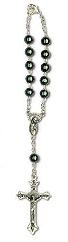 Hematite Silver Crucifix (One Decade Auto Rosary For Rear View Mirror (Hematite))
