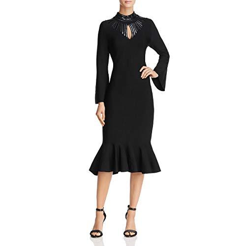 Embellished Cut Out Dress - NIC+ZOE Womens Cut-Out Embellished Midi Dress Black XS