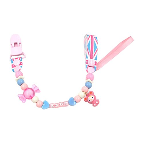 Baby Pacifier Clip Girl Boy Beaded with Pacifier Chain Teething Toy Pink Flag