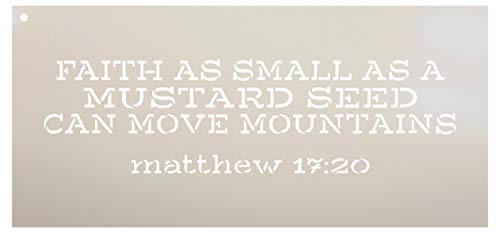 Faith As Small As A Mustard Seed - Matthew 7:20 Stencil by StudioR12 | Reusable Mylar Template | Use to Paint Wood Signs - Pillows - DIY Scripture Decor - Select Size (15