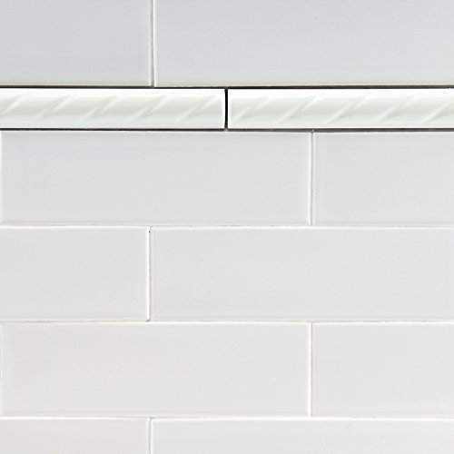 SomerTile WSP10WRP Cuerde Ceramic Pencil Wall Trim Tile, 1'' x 9.75'', White by SOMERTILE (Image #6)