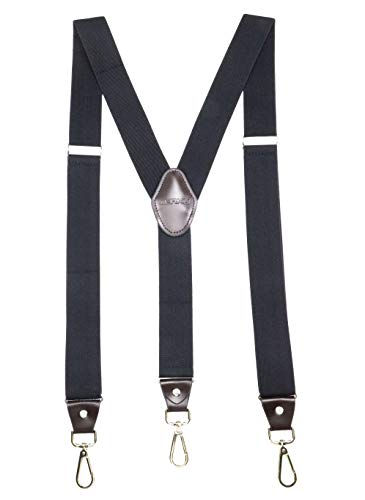 JIERKU Romanlin Mens Suspenders for Work 3 Swivel Hook Clips Y-Back for Groomsmen Leather Black
