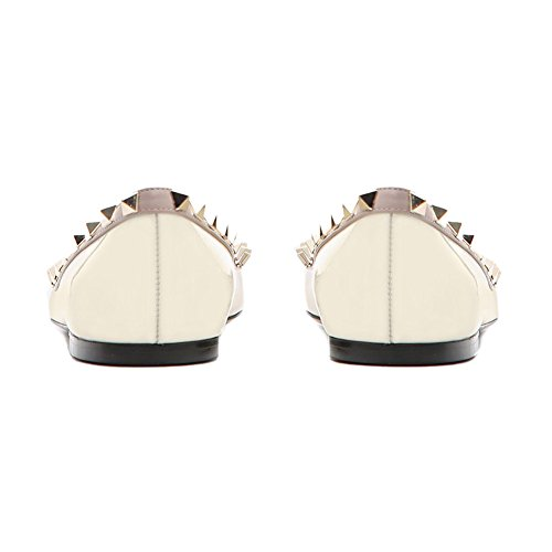 Toe Women White Studded Casual Flats Pointed Gladiator Flat Heels On Caitlin Pan Rivets Slip 5BT4qxwY4