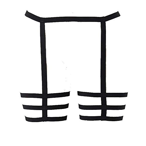 - BodyHss Harness Garter Womens High-Waisted Belts Set Mesh Lingerie,Black,Large