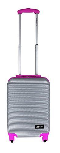 ABS Premium Trolley 31L Koffer Reisekoffer Hartschale Boardcase Handgepäck (Silber/Lila) Silber/Rosa FHe8JD