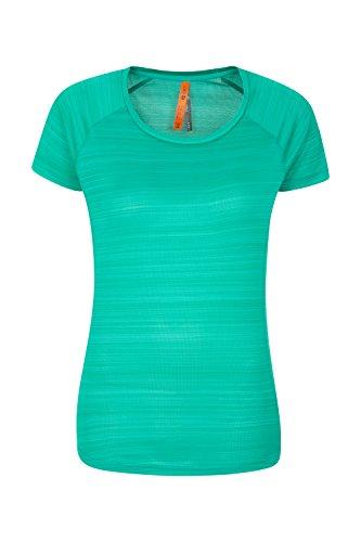 Mountain Warehouse Gestreiftes Damen-T-Shirt - Sommer-T-Shirt mit LSF30+, antibakterielles T-Shirt, Leicht, schnelltrocknendes Damenoberteil - Ideal für Reisen Bright Green