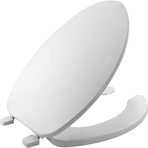 BEMIS 175 000 Commercial Open Front Toilet Seat with Cover, ELONGATED, Plastic, White ()