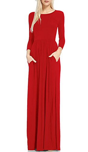 Mintsnow Women's Full Length Loose Fit Dresses for Women with Sleeves Red L