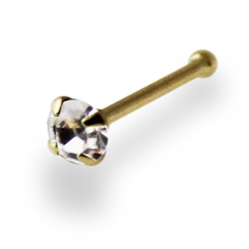 2.5MM Clear Genuine Crystal Stone 14ct Solid Yellow Gold 22 Gauge - 6MM Length Nose Bone Nose Stud (Bone Gold Yellow 14k Nose)