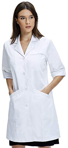 - Dr. James Women's Lab Coat, Classic Fit, 3/4 Sleeve, 35 Inch Length (8 (L)) White