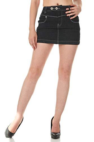 - FGR Women's Basic Stretch Twill Mini Skirt in Bright Colors Cotton Lycra (Black, 3/4)