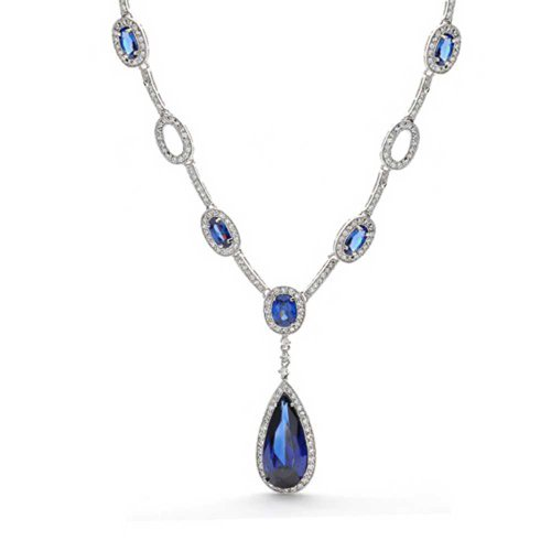 Bling Jewelry Simulated Sapphire CZ Teardrop Art Deco Style Necklace Rhodium Plated
