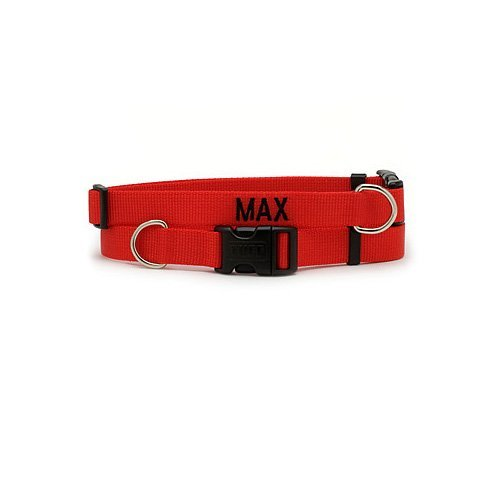 """Personalized Nylon Adjustable Collar-1"""" x 18-26"""" -Red"""