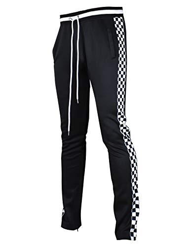 SCREENSHOTBRAND-P11854 Mens Hip Hop Premium Slim Fit Track Pants - Athletic Jogger Bottom with Side Checker Taping-Black-Medium