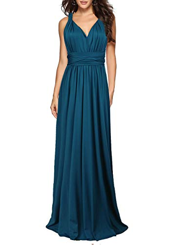 Sexyshine Women's Backless Gown Dress Multi-Way Wrap Halter Cocktail Dress Bandage Bridesmaid Long Dress(TE,S) Teal