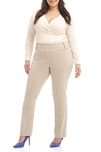 Rekucci Curvy Woman Ease in to Comfort Straight Leg Plus Size Pant w/Tummy Control (20W,Stone) ()