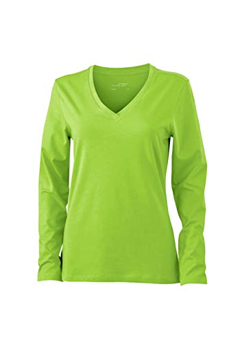 Longues shirt Jersey Extensible green Tee Et Col En Lime V Doux Manches Femme fgEEwqR
