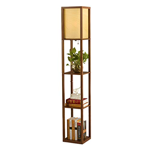 QPSGB Modern Minimalist Chinese Floor Lamp, Living Room Bedroom Study Wooden Standard Lamp WiFi Smart Cable Switch -4350 Floor lamp (Color : Walnut Color) ()